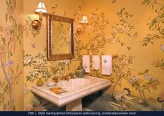 Custom Hand Painted Chinoiserie For Powder Room
