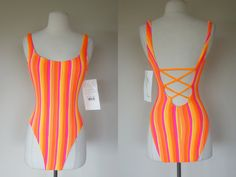 1980's swimsuit 80's strappy bathing suit neon by DottieMaeVintage