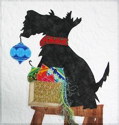 Cute!! Scottish terrier decorating at Christmas time Scotty dog illustration