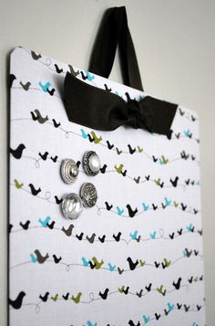 """Fabric Covered Magnet Board (12"""" x 24"""") Little Birdie on Etsy, $32.50"""