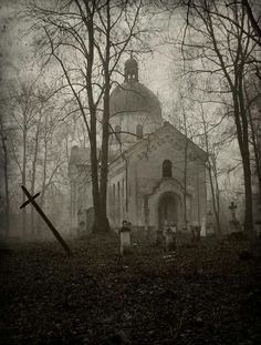 Writing Prompt: As I walked over the hill and across a small clearing, I saw, through the fog, a white church and a graveyard that looked abandoned...