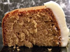 Homemade spice cake with cream cheese frosting...thinking of making this for my husband's birthday cake!