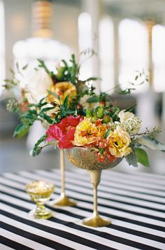 Yellow, red and green centerpiece in gold cup « Southern Weddings Magazine