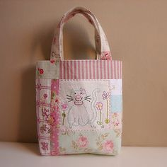 Tote patchwork blue cat embroidery