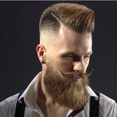 Hipster Side Fade Spiky Hairs With Handle Bar Moustache