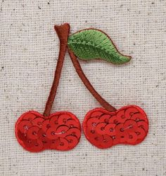 Iron On Embroidered Applique Patch - Sequin Red Cherry - Two Cherries on Stem