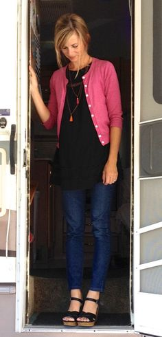 0e9e3e182cb I like the long black tunic paired with a pop of color. The short pink