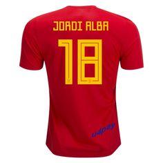 4e4a57975 Jordi Alba 18 2018 FIFA World Cup Spain Home Soccer Jersey Spain Soccer, Spain  Football