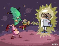 Mi más reciente ilustración, en esta ocasión les traigo un astronauta que tuvo un encuentro un poco violento con un marciano. Mars Attacks, Illustration, Astronaut, Illustrations