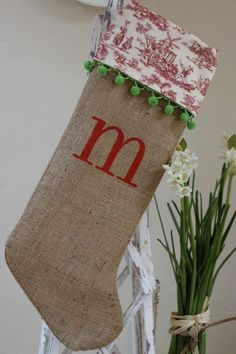 Burlap Christmas stockings-love it!