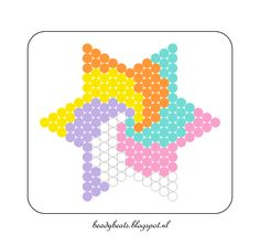 Beady Beads - Star 5e. Perler / Hama / Fusion / Melty / Pyssla Beads. Free Pattern Card! Visit my blog for more free patterns.