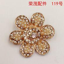 29 * 31 MM pérola de grande pingente de flor de strass fecho de lote, Diy liga de cabelo acessórios de jóias por atacado()