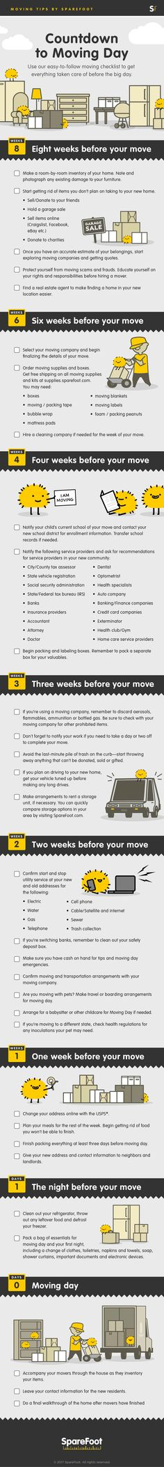 Whether you are relocating across the country or just down the street, our handy checklist will help you stay on top of things as the big day approaches. Simply complete the items on the timeline below as each week passes to prepare for your move.