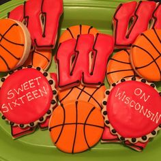 On Wisconsin! Sweet Sixteen Royal Icing Sugar Cookies by @cookiesbykatewi #badgers #madison #wisconsin #marchmadness #basketball #cookiedecoration