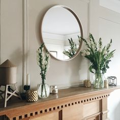 spring mantle  #mantle #fireplace #neatrals #mirror #gold #candles