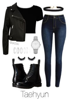 """Practice with Raehyun "" by ari2sk ❤ liked on Polyvore featuring Boohoo, River Island, Dr. Martens, Vanessa Mooney, Topshop and Belk Silverworks"