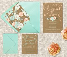Kraft Wedding Invitations w/ Mint & Peach Flowers with RSVP Cards / Rustic Chic Weddings / PRINTED Wedding Cards in Mint Green & Coral Peach
