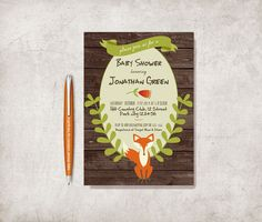 Woodland Baby Shower Invitation Printable, Fox Birthday Invitation, Digital File - Fox Invitation, Woodland Invitation - pinned by pin4etsy.com