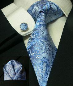 Blue Paisley Necktie Set JPM56E – Toramon Necktie Company