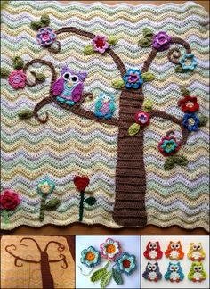 Crochet Nursery Owls Ripple Pattern Blanket with Free Pattern