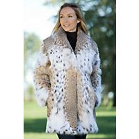 """Women's Katarina Lynx Fur Coat, NATURAL, Size SMALL (6-8)  """"When you own the Katarina, you'll be counting the days until winter. Our natural colored cat lynx fur stroller gives you a shawl collar, hook-and-ring closures, side slit pockets, and the chance of being the most elegant person at the party."""