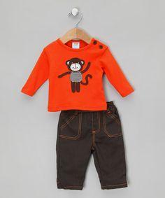 Orange Monkey Boy's Trouser Set  by Bambino Boutique