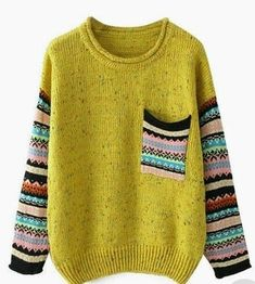 ROMWE offers Pocketed Striped Yellow Jumper & more to fit your fashionable needs. Knitting Stitches, Baby Knitting, Knitting Machine, Poncho Pullover, Fair Isle Knitting, Pulls, Diy Clothes, Knitting Patterns, Crochet Patterns