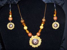 Sunflower Necklace and Earring Set by OurBeadedCharms on Etsy, $14.99