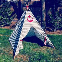 Gray and white stripe nautical theme kids teepee by campcloverkids on Etsy