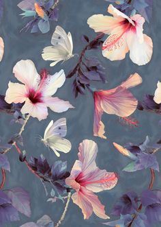 Butterflies and Hibiscus Flowers - a painted pattern iPhone & iPod Case by… More