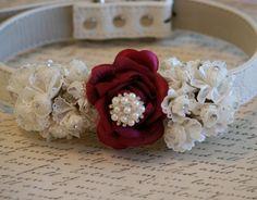 Burgundy Wedding Dog Collar, Floral dog collar, Pet Wedding accessory, Burgundy wedding, Dog Lovers