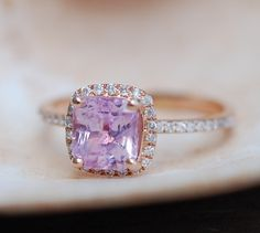 Pink Sapphire Engagement Rings. Rose Gold diamond Ring 1.98ct Cushion Peach Pink Sapphire. Engagement ring by Eidelprecious