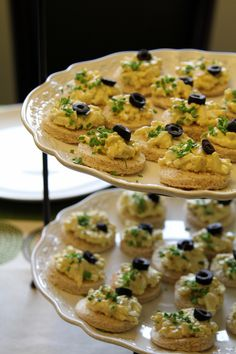 Open-Faced Egg Salad with Dill and Chives Finger Sandwiches