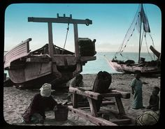 FISHERMANS' LIFE IN OLD JAPAN -- Kids Wait for their Dads After the Boats are on Shore by Okinawa Soba, via Flickr