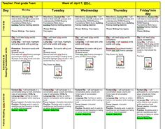 First Grade Weekly lesson plans--FREEBIE! Check out my blog for pages 2 and 3.
