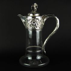 19th Century English Sterling Silver and Glass Claret Jug