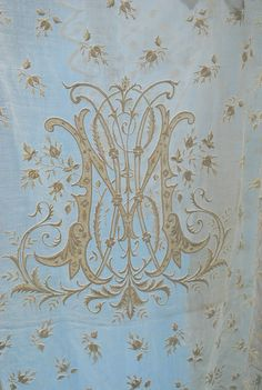 Antique Century French White Work Spread and Shams with Roses on Handkerchief Linen Pretty on a pillow too Embroidery Monogram, Embroidery Patterns, Hand Embroidery, Machine Embroidery, Cross Patterns, Monogram Design, Monogram Styles, Monogram Letters, Vintage Monogram