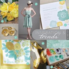 Yellow and aqua wedding inspriation