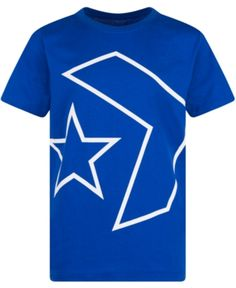 Converse Big Boys Outlined Star Chevron Logo T-Shirt - Blue M (12/14)
