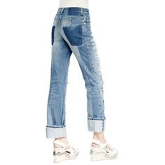 Alexander McQueen Slashed Embroidered Slim-Leg Jeans ($865) ❤ liked on Polyvore featuring jeans, faded blue jeans, zipper jeans, slashed jeans, slim fit blue jeans and alexander mcqueen
