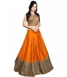 Buy Orange embroidered art silk unstitched lehenga ghagra-choli online