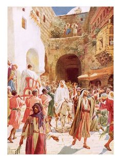 A wide choice of quality art prints of beautiful paintings and drawings of the holy land Jesus Lives, Jesus Christ, Savior, Jesus Enters Jerusalem, Jerusalem Israel, Bible Pictures, Biblical Art, Palm Sunday, The Good Shepherd