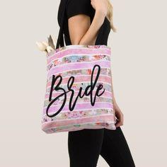 Modern floral watercolor bride pastel pink stripes tote bag - watercolor gifts style unique ideas diy