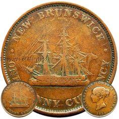"NICE! 1854 VICTORIA ""SAILING SHIP"" CANADIAN ONE PENNY TOKEN! sku #EM5"