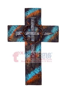 Nails Thorny Decorative Wall Cross Crossed Nails Rusty Metal Look Turquoise