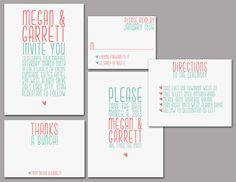 Wedding Invitation Set - Printable, Custom, DIY - SIMPLE, CHIC. $45.00, via Etsy.