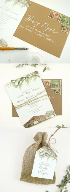 Custom wedding invitation for a summer rustic, farm wedding in Tennessee. The wedding ceremony took place outdoor and the reception was in the barn illustrated on the invitation. Local oak tree watercolors drape over the top of the wedding invitation and circle die cut menu. We used a palette of earthy greens and browns for the illustrations, envelope and vintage stamps.