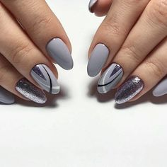 50 Geometric nail art designs for 2019 Geometric Nail Art designs are most popular nail designs aamong nail fashion because of the actuality that these Gray Nails, Glitter Nails, Fun Nails, Grey Nail Art, Square Nail Designs, Grey Nail Designs, Nail Art Photos, Wall Photos, Uñas Fashion