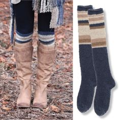 Show off your cozy stripes and make your boots look great by scrunching these just above the top of your boot!