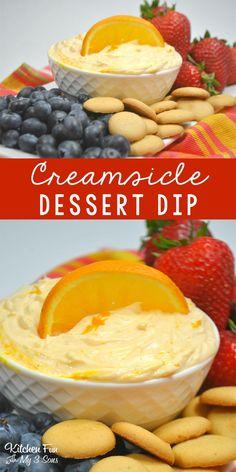 Dessert Dips sind mein neuer Favorit und diese sind so gu… Orange Creamsicle Dip. Dessert dips are my new favorite and these are so good! Dessert Dips, Köstliche Desserts, Delicious Desserts, Finger Desserts, Fruit Dessert, Yummy Food, Fun Food, Finger Foods, Tasty